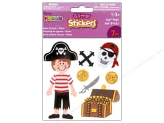 Children Black: Darice Foamies Sticker 3D Glitter Pirates 7pc
