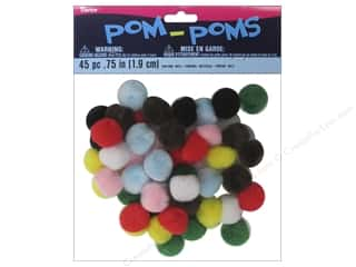 Basic Components Pom Poms: Darice Pom Poms 3/4 in. (19 mm) Multicolor 45 pc.