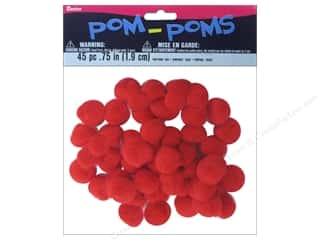 Darice $3 - $4: Darice Pom Poms 3/4 in. (19 mm) Red 45 pc.