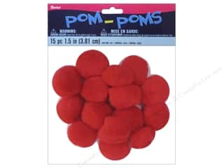 Basic Components Pom Poms: Darice Pom Poms 1 1/2 in. (38 mm) Red 15 pc.