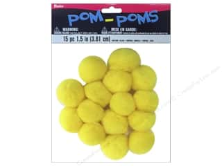 "1"" pom poms: Darice Pom Poms 1 1/2 in. (38 mm) Dark Yellow 15 pc."