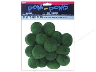 "1"" pom poms: Darice Pom Poms 1 1/2 in. (38 mm) Kelly Green 15 pc."