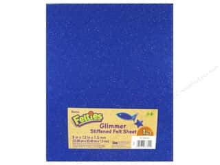 "Felting Blue: Darice Felties Sheet 9""x 12"" 1.5mm Glimmer Royal Blue (5 pieces)"