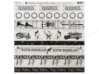 Borders Christmas: Canvas Corp 12 x 12 in. Paper Ivory Farmhouse Christmas Stripe (15 pieces)
