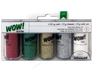 Glitter Christmas: American Crafts Wow! Glitter Extra Fine 5 pc. Multi