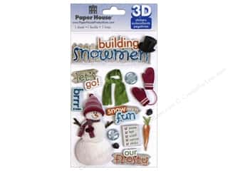 3D Stickers: Paper House Sticker 3D Building Snowman