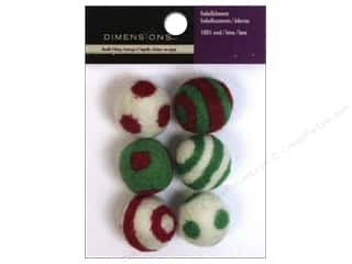 Wool Scrapbooking: Dimensions 100% Wool Felt Embellishment Holiday Balls Stripes And Polka Dots