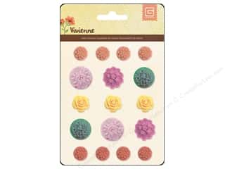 Flowers / Blossoms Plastic Flowers / Resin Flowers: BasicGrey Resin Stickers Vivienne Flowers