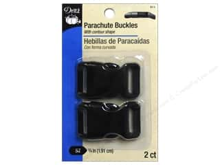 "Dritz Buckle Parachute .75"" Black 2pc"
