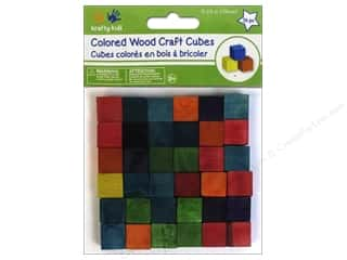 Children Wood: Craft Medley Wood Craft Cubes 5/8 in. Colored 36 pc.