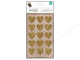 New Glitter: American Crafts Stickers DIY Shop Glitter Gold Hearts