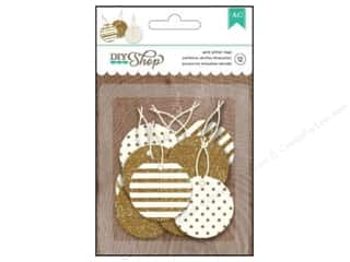 Gifts New: American Crafts DIY Shop 2 Tags 12 pc. Circles with Gold Glitter