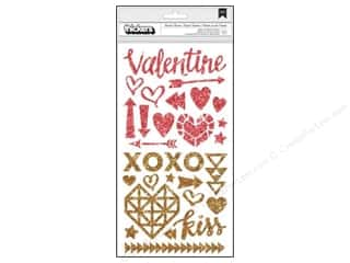 American Crafts Valentine's Day: Crate Paper Thickers Accent Stickers  Kiss Kiss Glitter Gold Pink