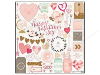 Chipboard Hearts: Crate Paper Adhesive Chipboard 12 x 12 in. Kiss Kiss 41 pc.