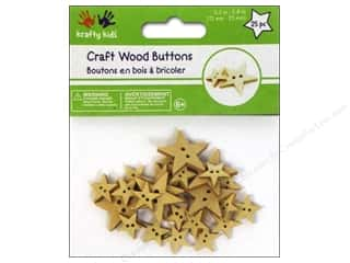 Multi's Embellishment  Yarn Multicraft Krafty Kids: Multicraft Krafty Kids Wood Craft Button Natural Stars 25pc