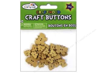 Kids Crafts Basic Components: Multicraft Krafty Kids Wood Craft Button Natural Butterflies 25pc