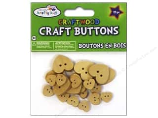 Kids Crafts Basic Components: Multicraft Krafty Kids Wood Craft Button Natural Hearts 25pc