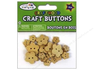 Multi's Embellishment  Yarn Multicraft Krafty Kids: Multicraft Krafty Kids Wood Craft Button Natural Flowers 25pc
