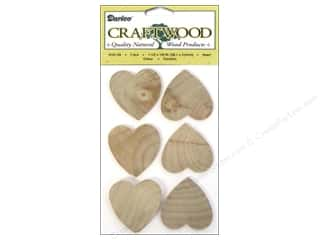 "Ornaments Hearts: Darice Wood Craftwood Heart 1.5"" 7pc"