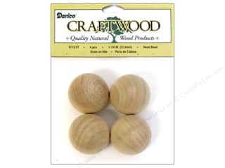 "Beads $4 - $5: Darice Wood Craftwood Head Bead Round 1.25"" 4pc"
