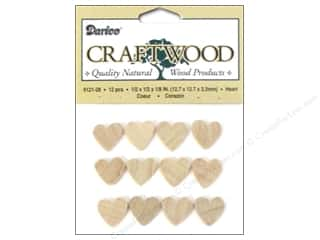 "Ornaments Hearts: Darice Wood Craftwood Heart 1/2"" 12pc"