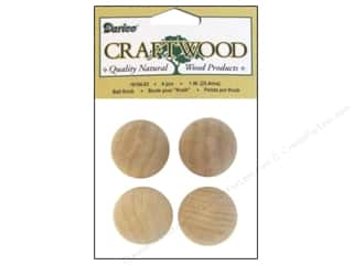 "Hardware Gifts: Darice Wood Craftwood Ball Knob 1"" 4pc"