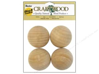 "Wood $2 - $4: Darice Wood Craftwood Ball Knob 2"" Big Value 4pc"