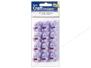Party Favors: Darice Flocked Bears 1 in. Fuzzy Light Purple 12 pc.
