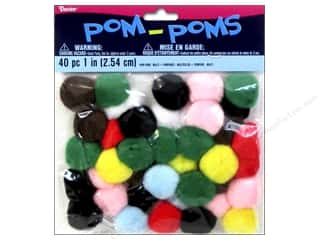 Basic Components Pom Poms: Darice Pom Poms 1 in. (25 mm) Multicolor 40 pc.