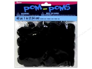 "1"" pom poms: Darice Pom Poms 1 in. (25 mm) Black 40 pc."