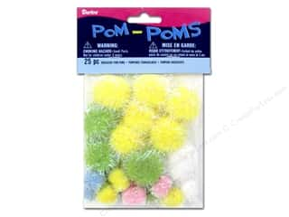 yellow pom pom: Darice Pom Poms Assorted Size Easter Iridescent 25 pc.