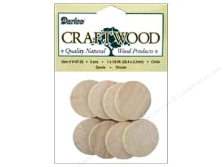"Woodworking Projects & Kits: Darice Wood Craftwood Circle 1""x 1/8"" 8pc"