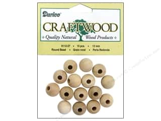 wood beads: Darice Wood Craftwood Bead Round 12mm 15pc