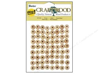 wood beads: Darice Wood Craftwood Round Bead 10mm 72pc