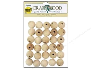 Darice Wood Craftwood Round Bead 20mm 30pc