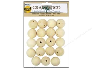 Darice Wood Craftwood Round Bead 25mm 19pc