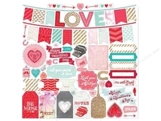 Echo Park Paper Company Love & Romance: Echo Park Sticker 12 x 12 in. Lucky In Love Element (15 sets)