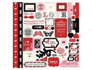 Carta Bella Hearts: Carta Bella Sticker 12 x 12 in. Words of Love Element (15 sets)