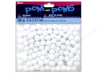 Darice Pom Poms 1/2 in. (13 mm) White 100 pc.