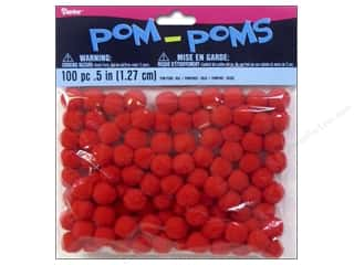 "1"" pom poms: Darice Pom Poms 1/2 in. (13 mm) Red 100 pc."