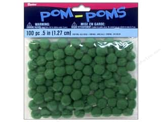 "1"" pom poms: Darice Pom Poms 1/2 in. (13 mm) Kelly Green 100 pc."