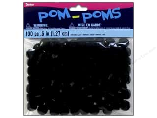 Basic Components Pom Poms: Darice Pom Poms 1/2 in. (13 mm) Black 100 pc.