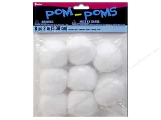 Toys Basic Components: Darice Pom Poms 2 in. (50 mm) White 8 pc.
