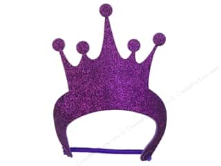 "Hats Wearable Hats: Darice Foamies Tiara 9.5""x 5 5/8"" Purple Glitter"