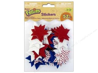 Independence Day Basic Components: Darice Felties Sticker Printed Stars 52pc