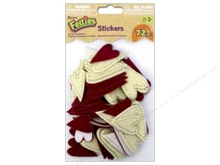 Hearts Stickers: Darice Felties Sticker Stitched Hearts 72pc