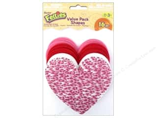 Darice Felties Felt Bases Hearts Value Pk Ast 16pc