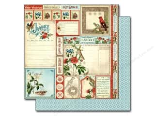 "Patterns New: Graphic 45 A Time To Flourish Collection Paper 12""x 12"" Cut Apart January (25 pieces)"