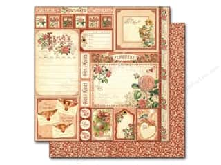 "Borders Valentine's Day: Graphic 45 A Time To Flourish Collection Paper 12""x 12"" Cut Apart February (25 pieces)"