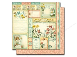 "Spring Borders: Graphic 45 A Time To Flourish Collection Paper 12""x 12"" Cut Apart April (25 pieces)"